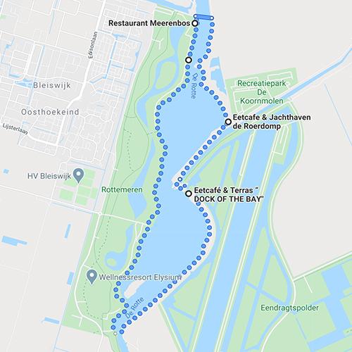 Rottemeren met pont ca 7 km